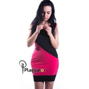 haljina-crno-pink-bez-rukava